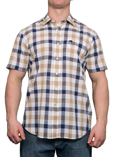 Raging Bull S/S Check Linen Look Shirt