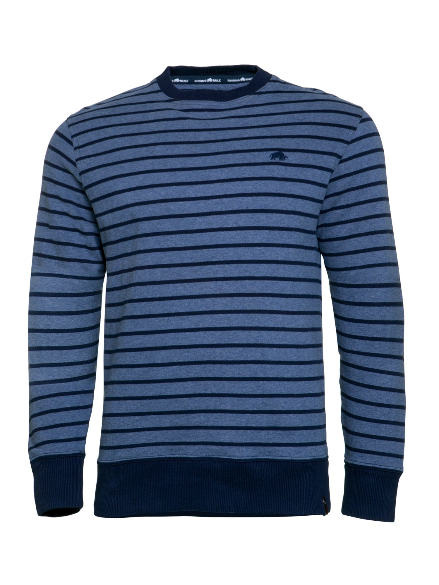 Men's Raging Bull Stripe Crew Sweater, Blue