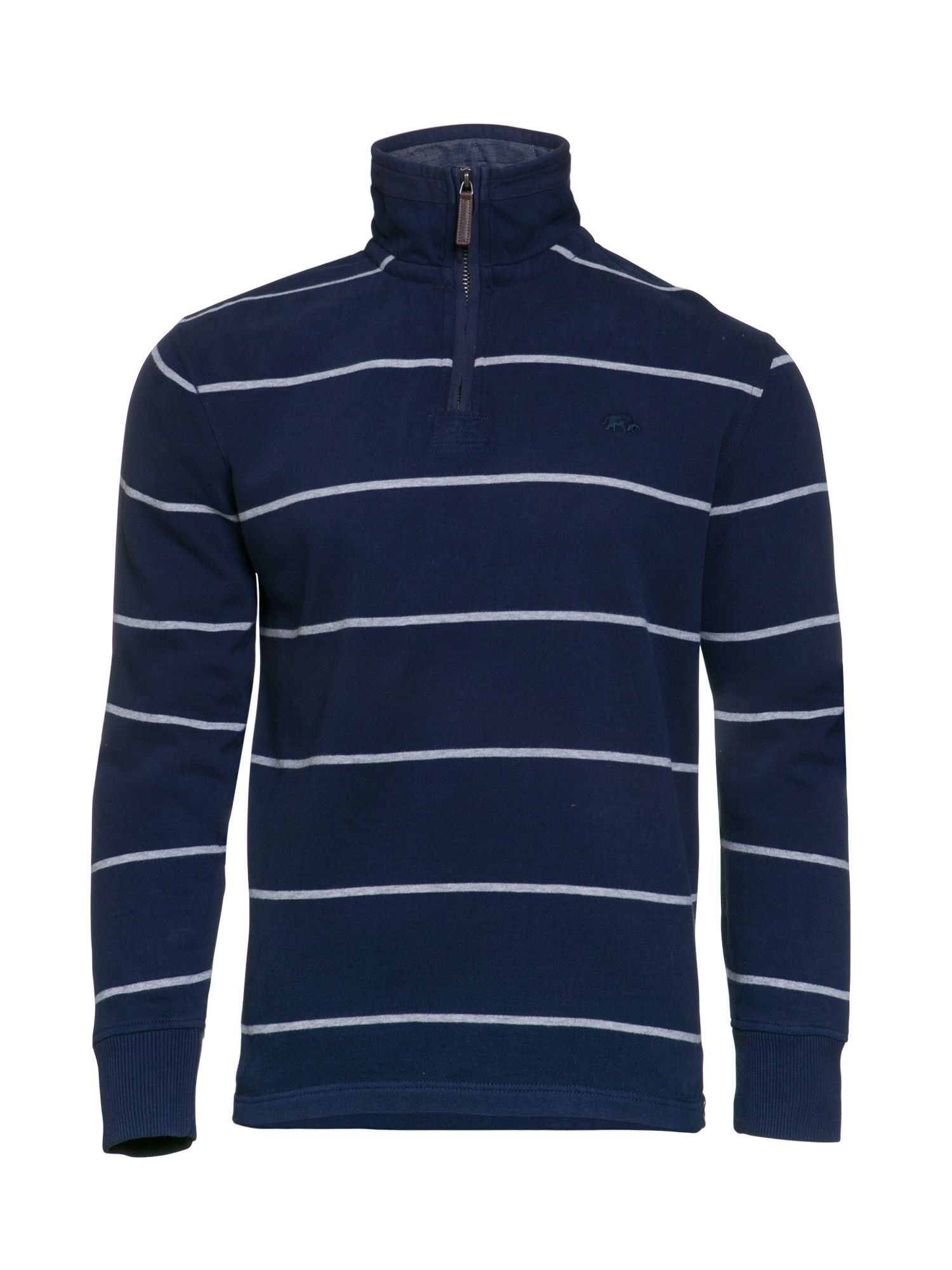 Men's Raging Bull Stripe Jersey Quarter Zip Sweater, Blue