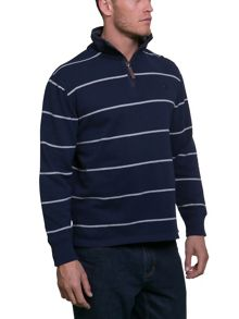 Raging Bull Stripe Jersey Quarter Zip Sweater