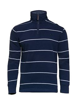 Stripe Jersey Quarter Zip Sweater