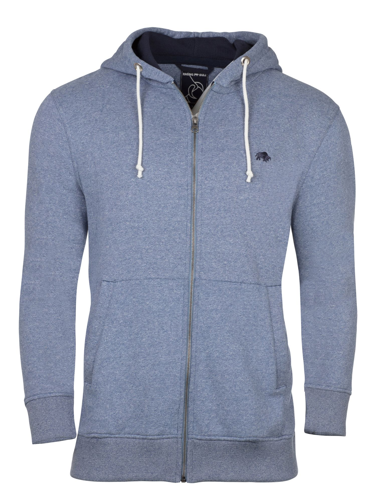 Men's Raging Bull RB Zip Thru Hoody, Mid Blue