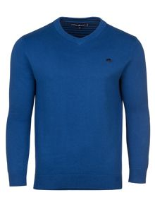 Raging Bull V-Neck Cott/Cash Sweater