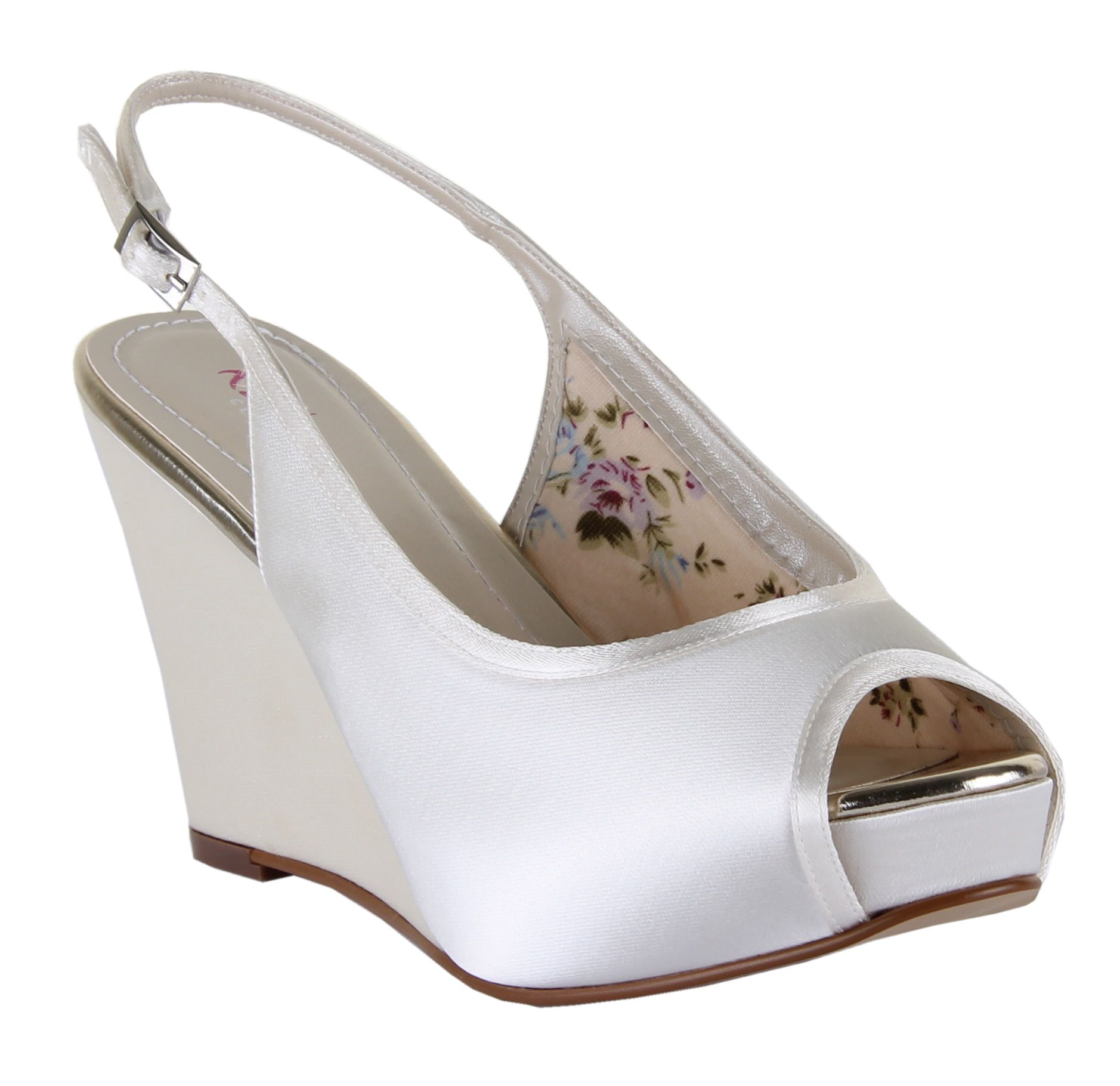 Vintage Style Wedding Shoes, Boots, Flats, Heels Rainbow Club Loretta platform wedge sling back shoes £48.75 AT vintagedancer.com