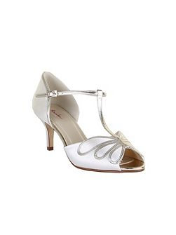 Harlow vintage gold peep toe heel shoes