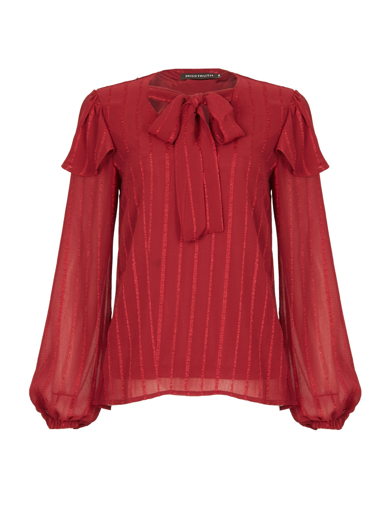 MISSTRUTH Pussybow Chiffon Blouse, Dark Red