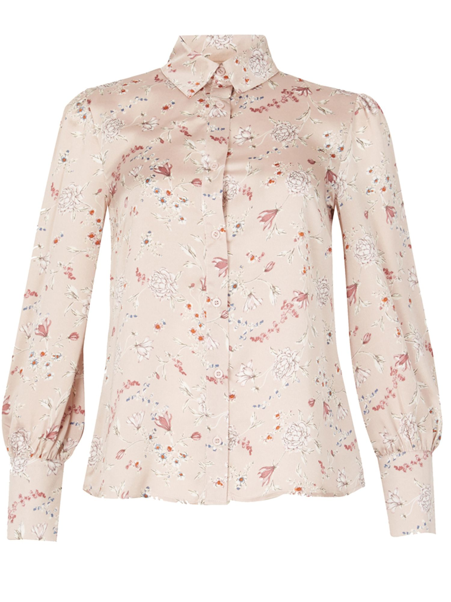 MISSTRUTH Floral Print Long Sleeve Blouse, Brown