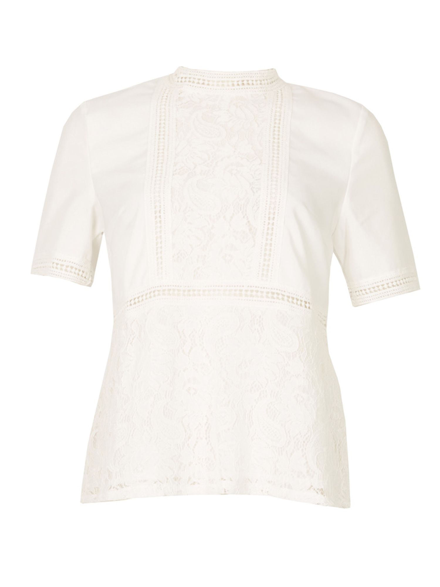 MISSTRUTH Short Sleeve Lace Detail Top, White