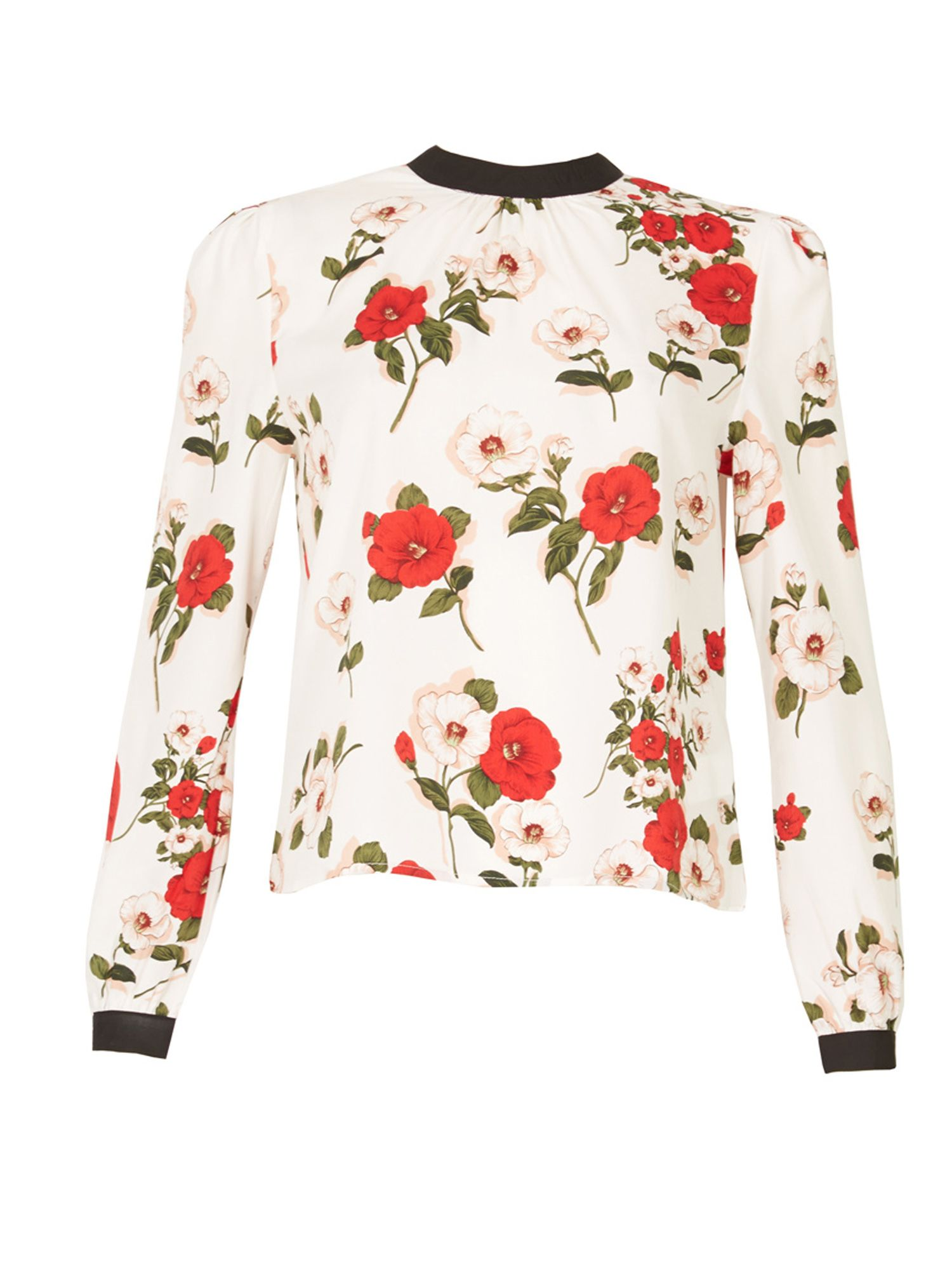 MISSTRUTH Floral Print Contrast Collar Top, Multi-Coloured