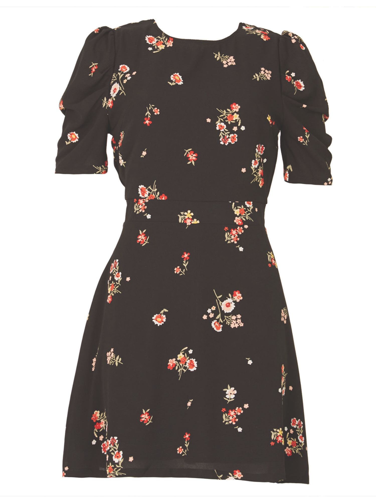 MISSTRUTH Floral Print Ruched Sleeve Dress, Multi-Coloured