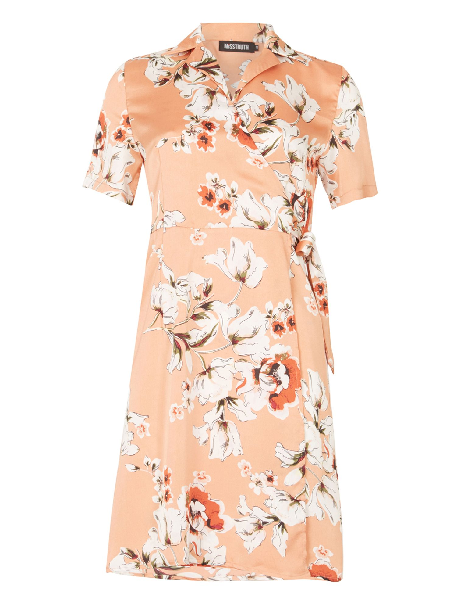 MISSTRUTH Floral Print Wrap Front Dress, Multi-Coloured