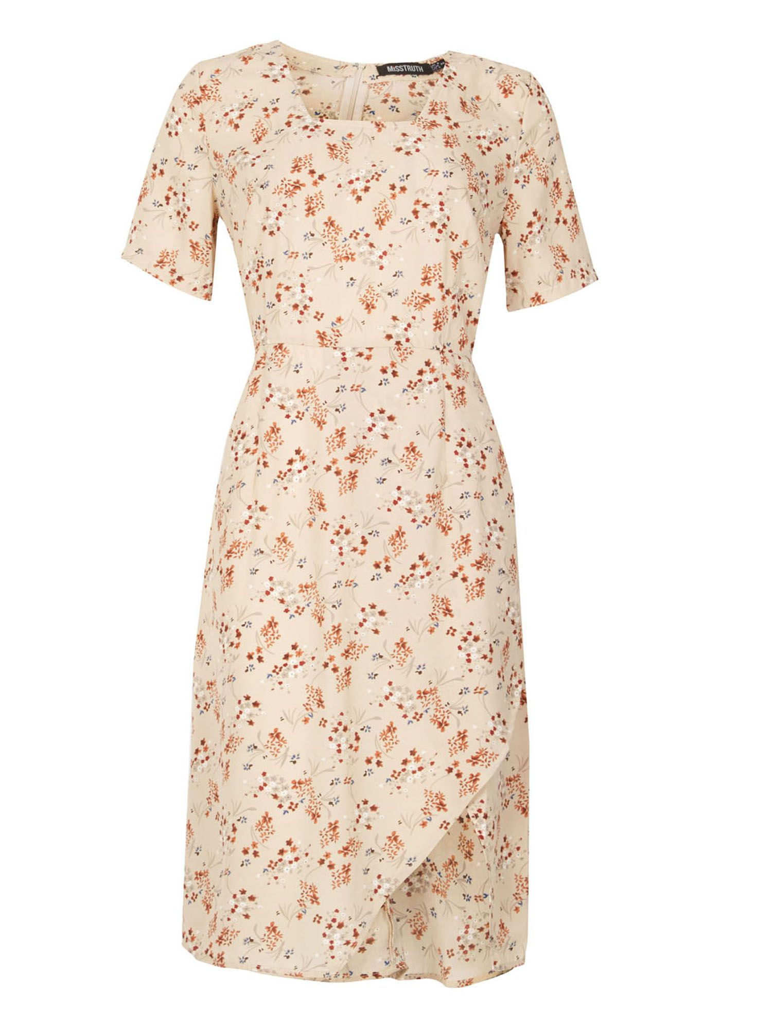 MISSTRUTH Floral Print Asymmetric Shift Dress, Multi-Coloured