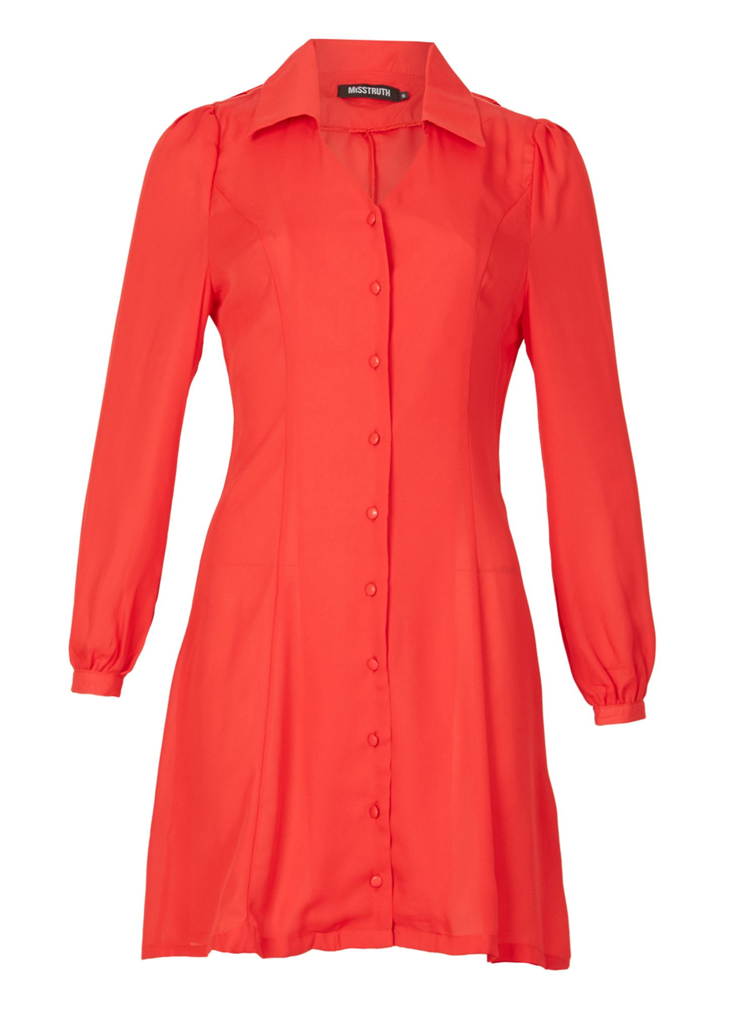 MISSTRUTH Button Front Collared Dress, Red