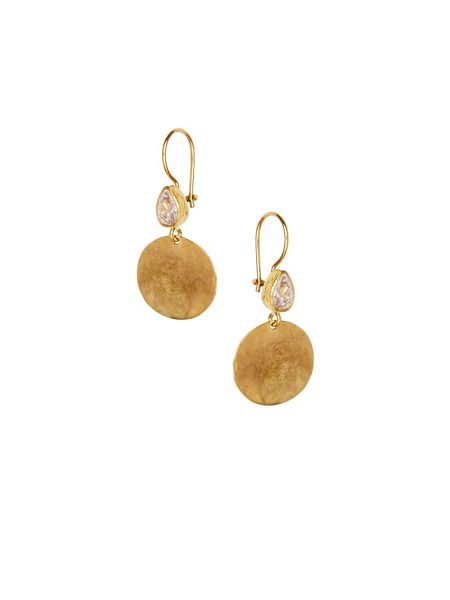Ottoman Hands Crystal hammered disc earrings