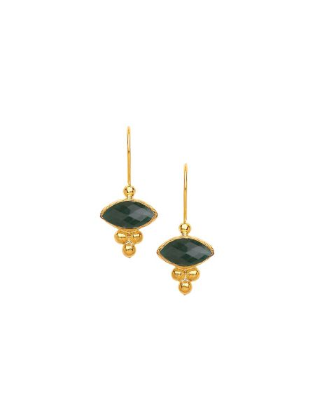 Ottoman Hands Miniature marquis earrings - triple beads