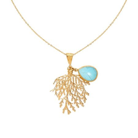 Ottoman Hands Fern and stone necklace