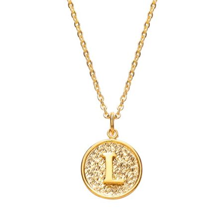 Ottoman Hands Gold letter l pendant necklace