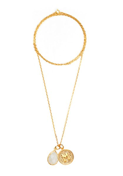Ottoman Hands Gold letter m pendant necklace