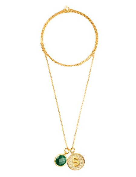 Ottoman Hands Gold letter s pendant necklace