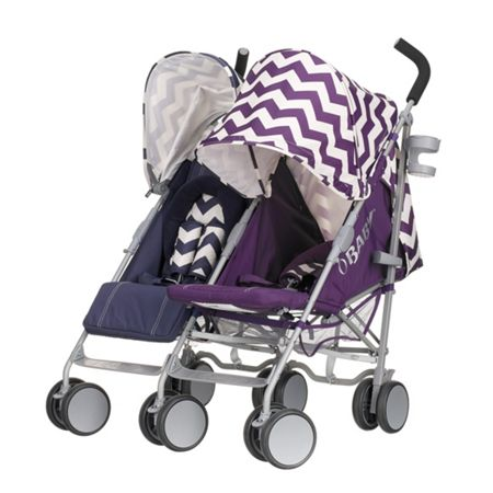 OBABY Leto plus twin stroller navy/purple