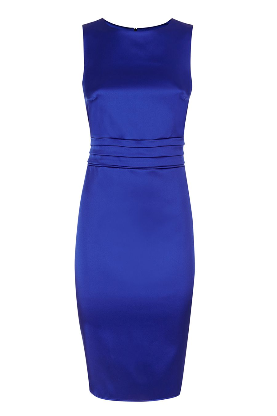 HotSquash Silky dress with tie belt and pleat, Royal Blue