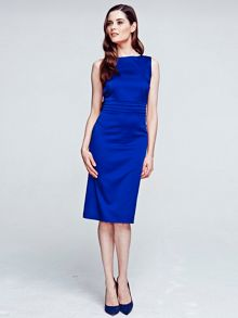HotSquash Silky dress with tie belt and pleat