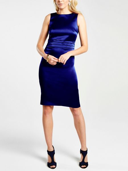 HotSquash Silky pleat detail dress with tie belt