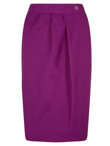 Wrap skirt with diagonal waistband pleat