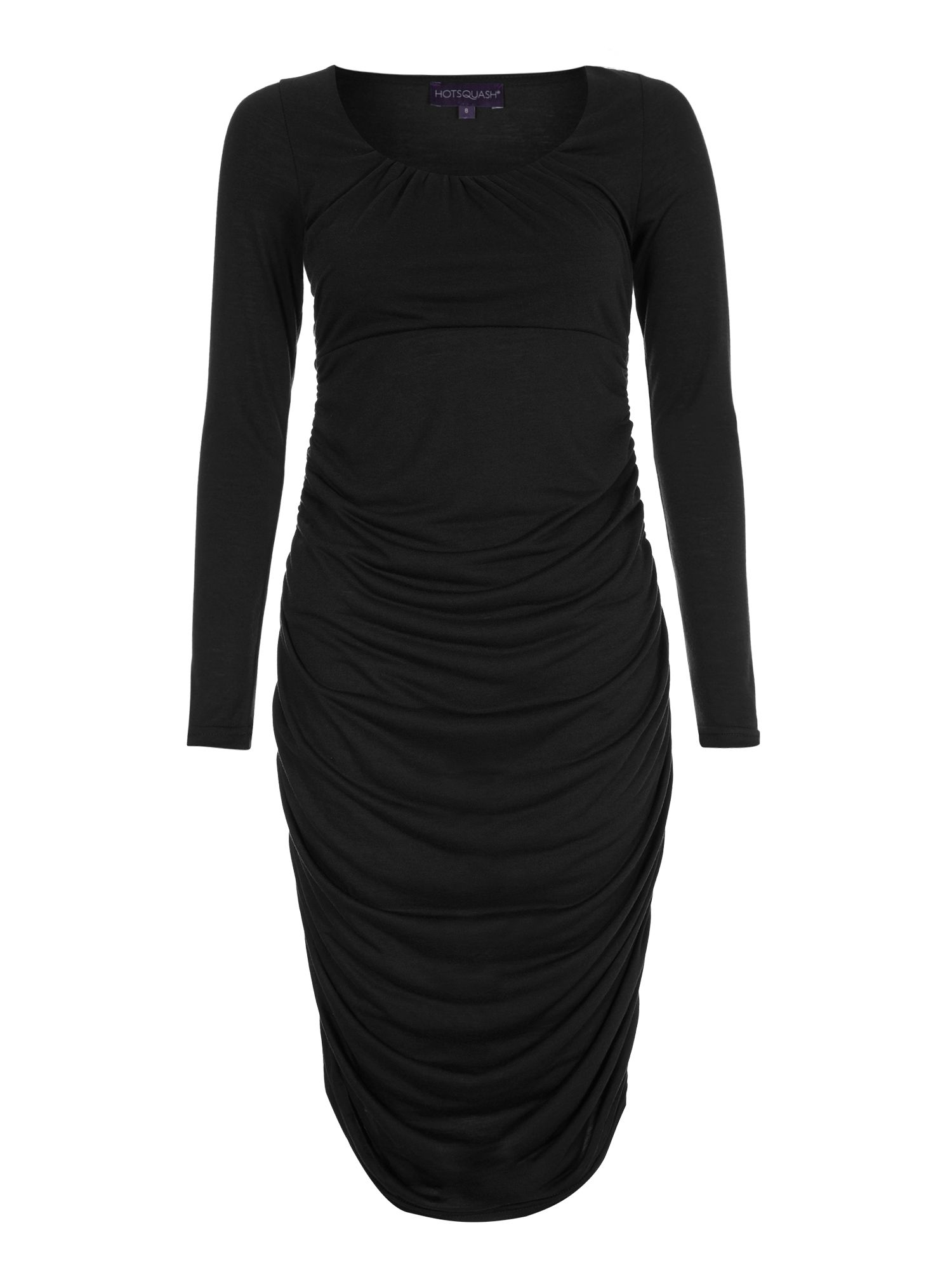 Horseshoe neck ruched dress in thinheat
