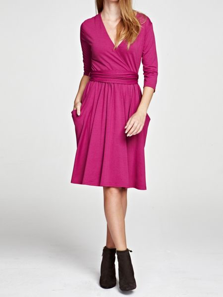 Thinheat false wrap fit `n flare dress