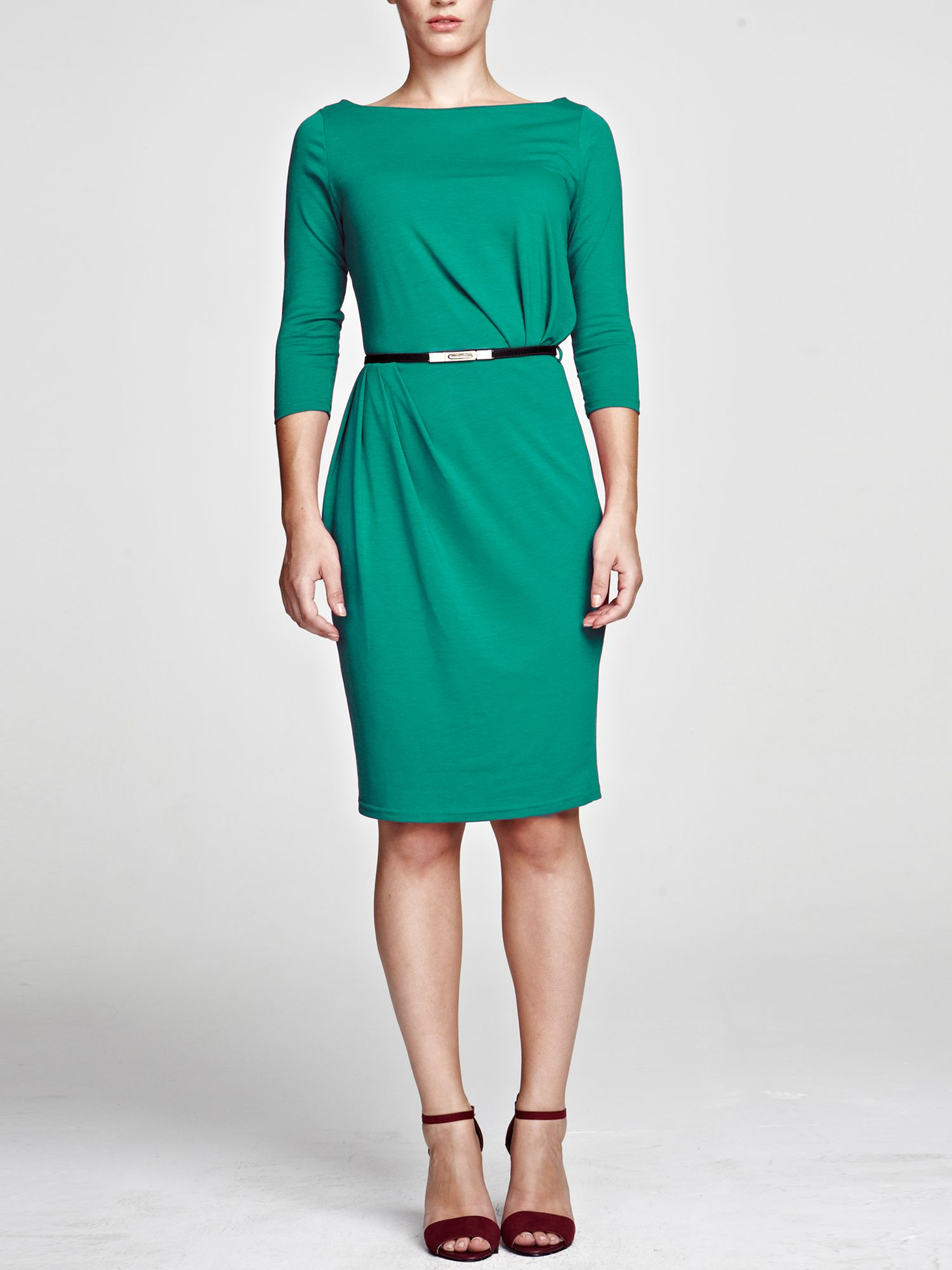 Slash neck tuck detail jersey dress