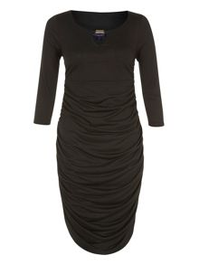 Thinheat gold bar ruched dress