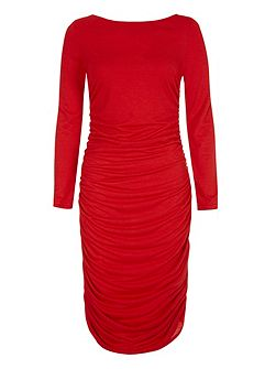 Ruched dress in unique thinheat fabric