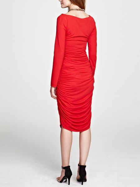 HotSquash Ruched dress in unique thinheat fabric