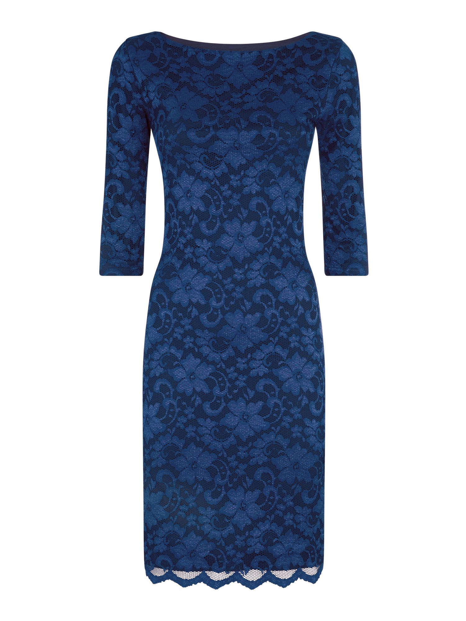 HotSquash Long sleeved lace dress with ThinHeat, Blue