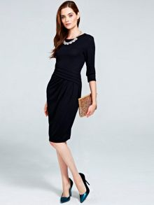 Long sleeved damson kneelength dress