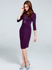HotSquash Long sleeved damson kneelength dress