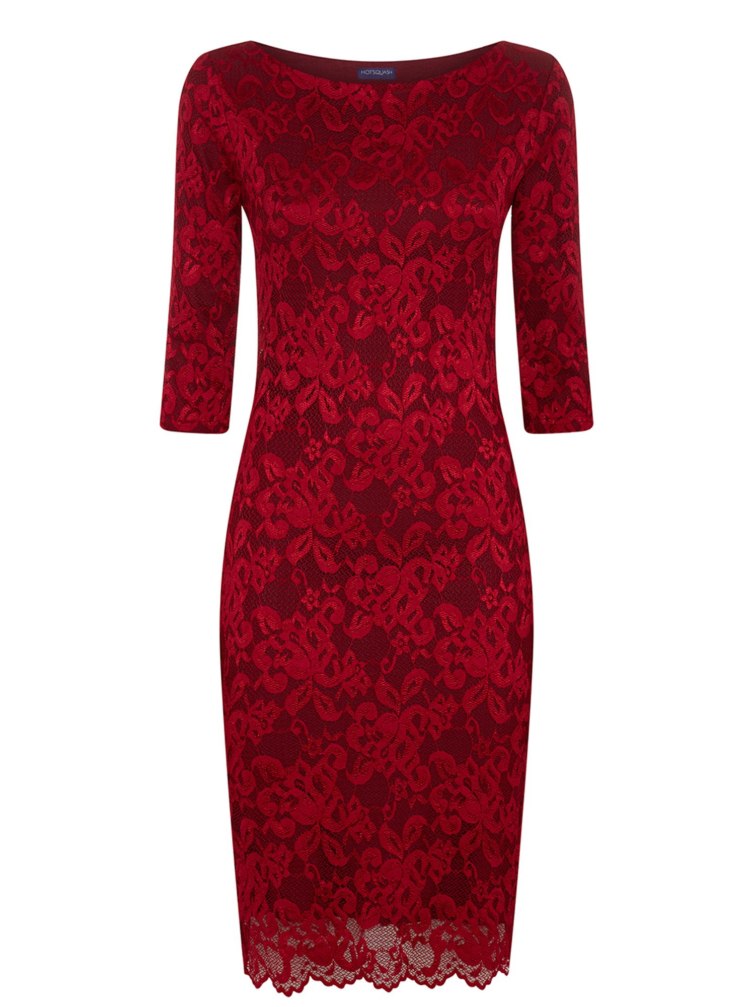 HotSquash Red long sleeved lace dress with ThinHeat, Red