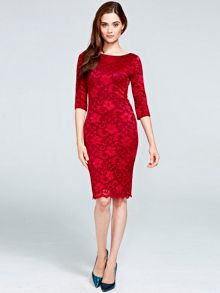 Red long sleeved lace dress with ThinHeat