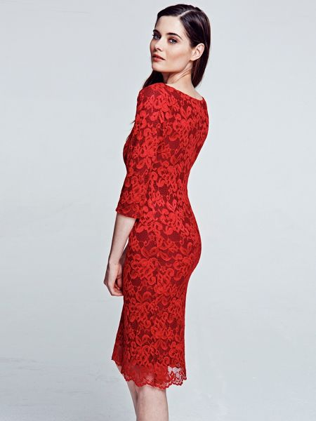 HotSquash Red long sleeved lace dress with ThinHeat