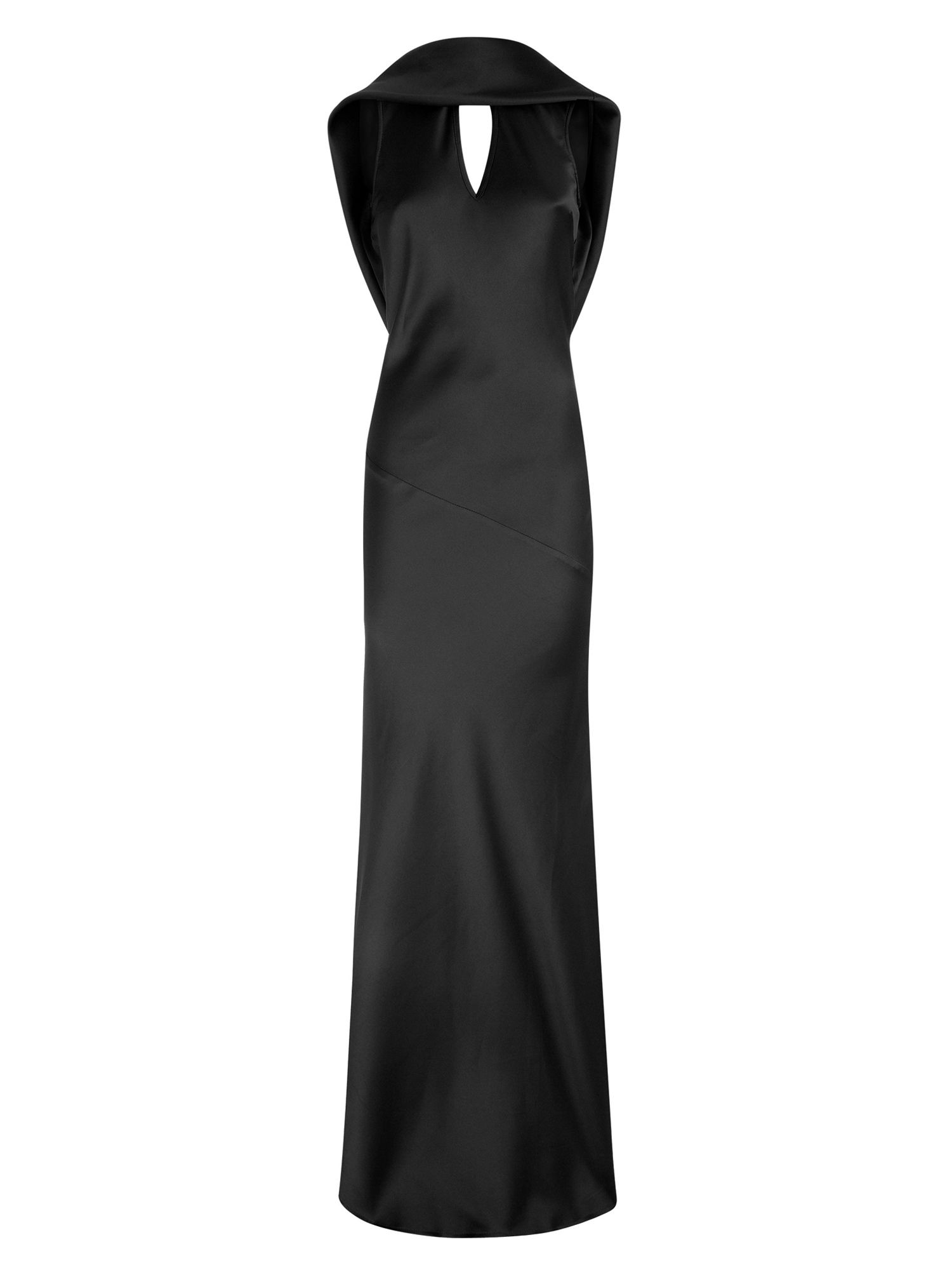 HotSquash Long dress with cowl back and front, Black