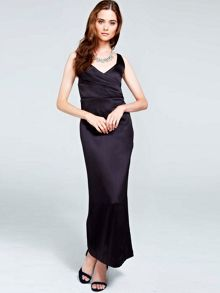 Silky long v neck dress