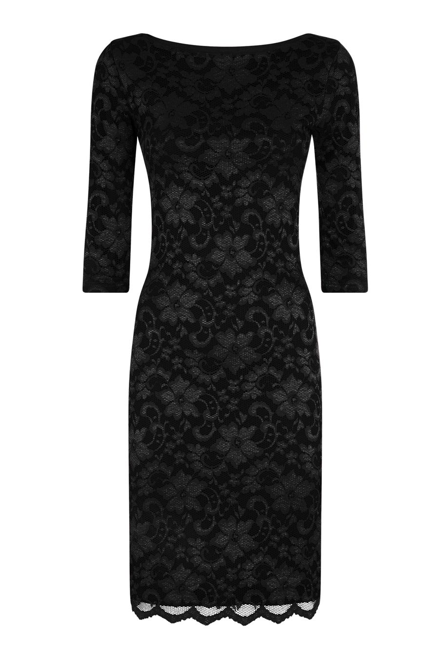 HotSquash Red long sleeved lace dress with ThinHeat, Black