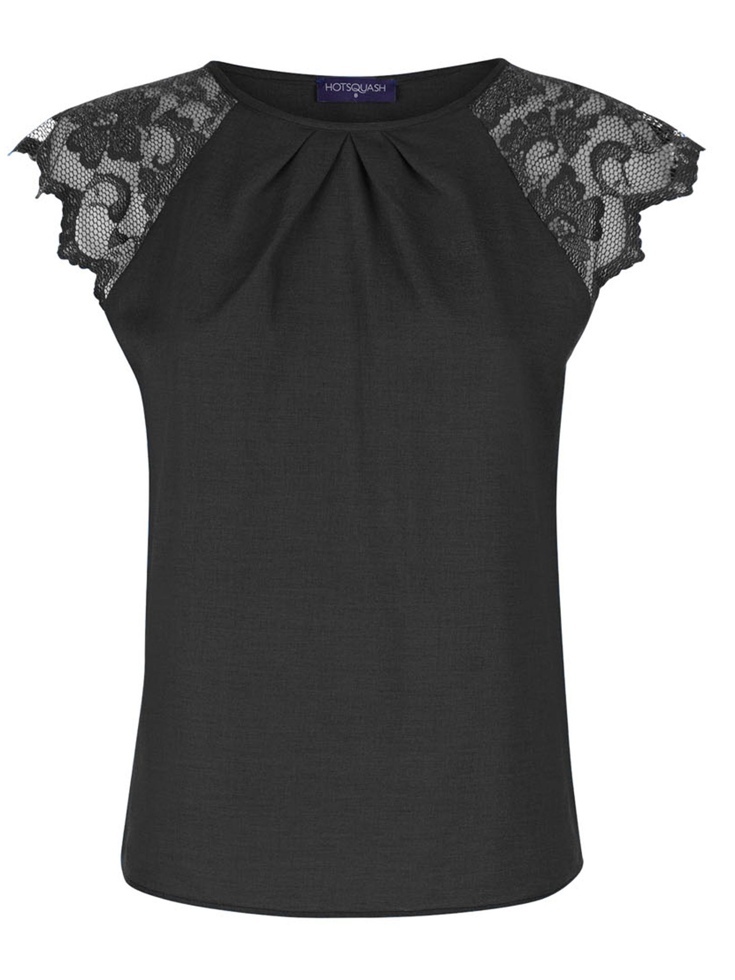 HotSquash Crepe top with lace sleeves, Black