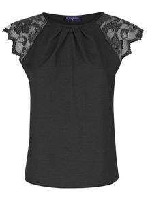 Crepe top with lace sleeves