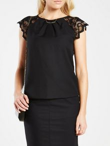 HotSquash Crepe top with lace sleeves