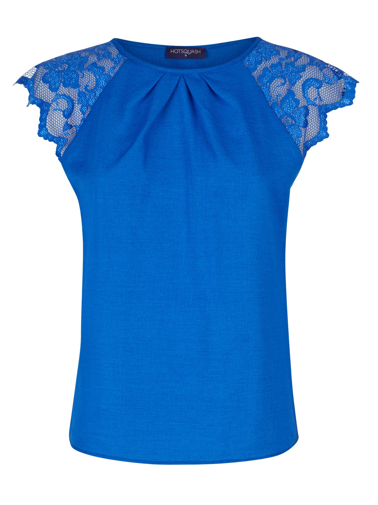 HotSquash Crepe top with lace sleeves, Blue