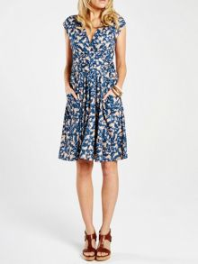 Knee length dress with false belt