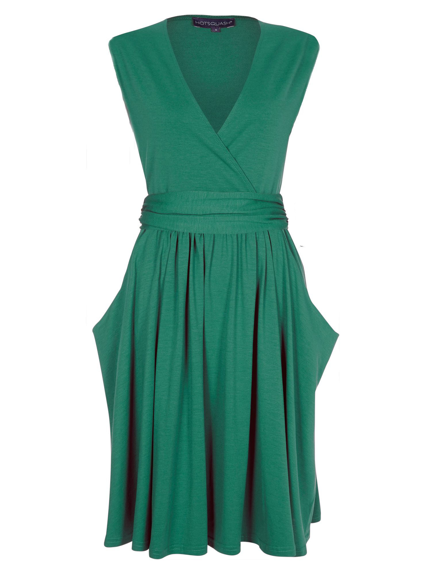 HotSquash Knee Lengh dress with false belt, Emerald
