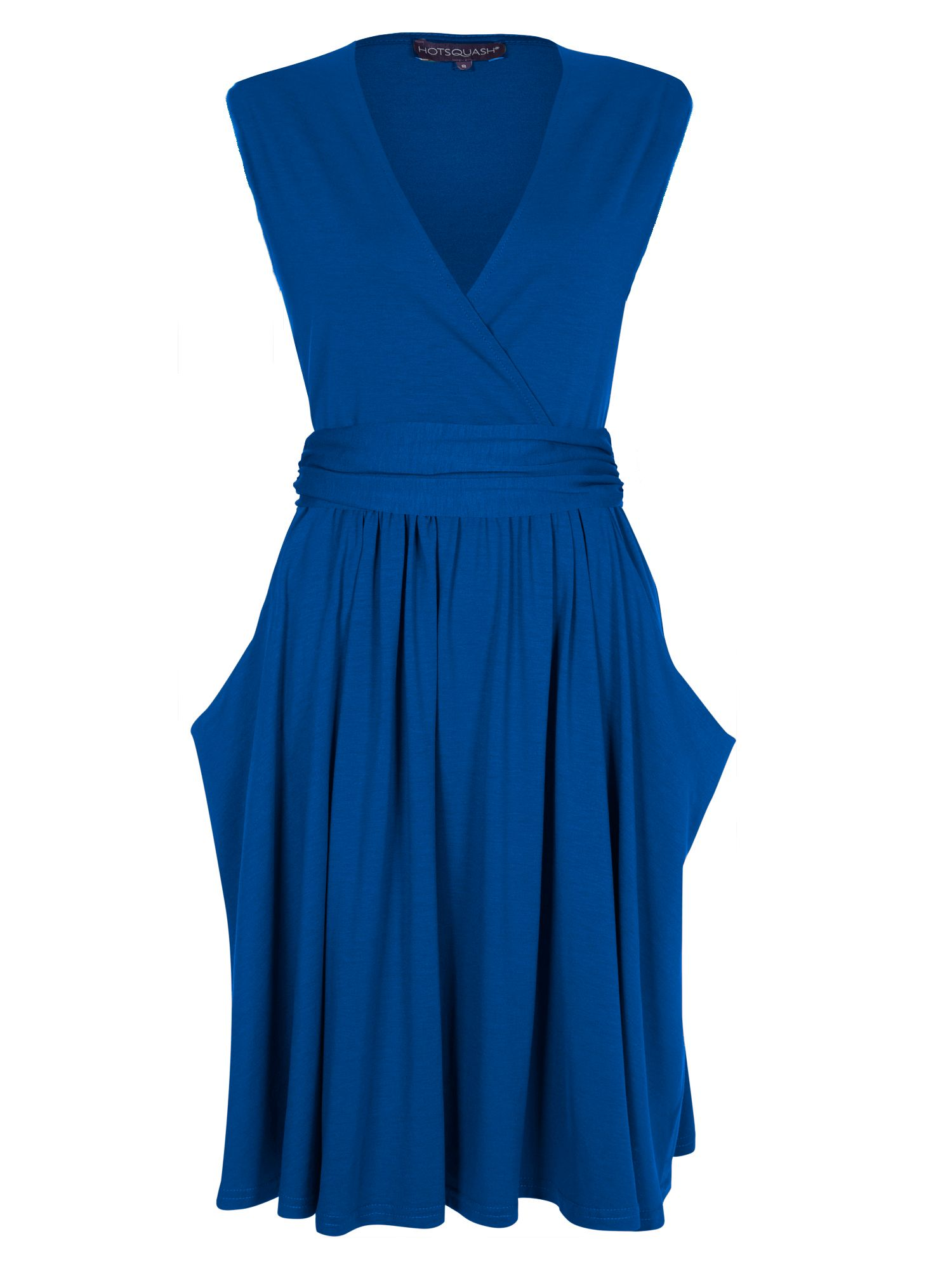 HotSquash Knee Lengh dress with false belt, Cobalt